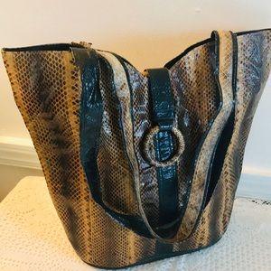 Vintage Snakeskin Tote Bag